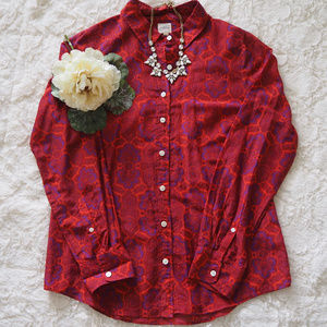 J. Crew Printed Button Down Top